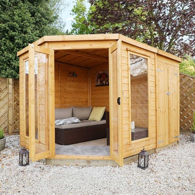 Click to view product details and reviews for 11 X 7 Corner Summerhouse With Side Shed.