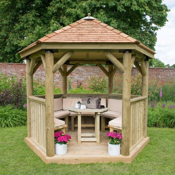 Click to view product details and reviews for 30m Hexagonal Gazebo With Cedar Roof.