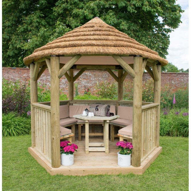 Click to view product details and reviews for 30m Hexagonal Gazebo With Thatched Roof.