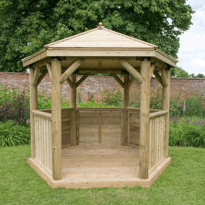 Click to view product details and reviews for 30m Hexagonal Gazebo With Timber Roof.