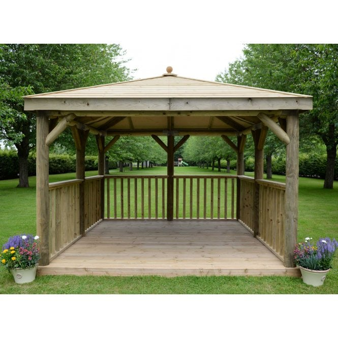 Click to view product details and reviews for 35m Square Gazebo With Timber Roof And Optional Floor.