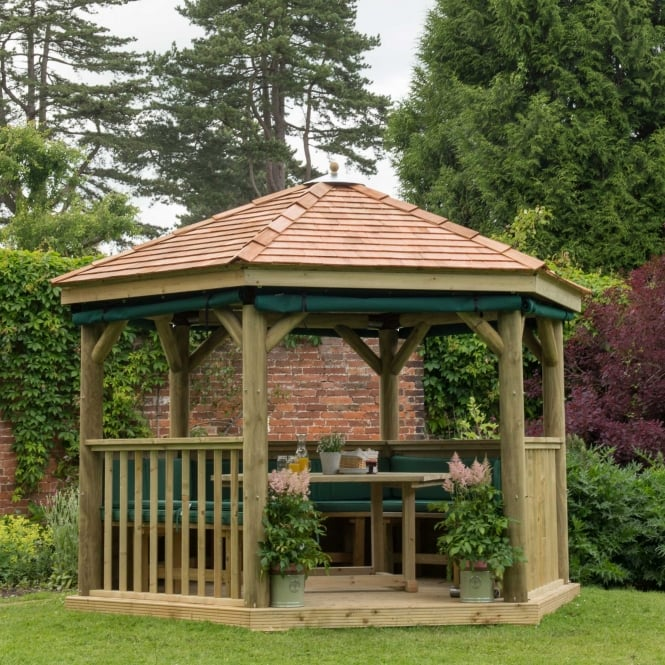 Click to view product details and reviews for 36m Hexagonal Gazebo With New England Cedar Roof.