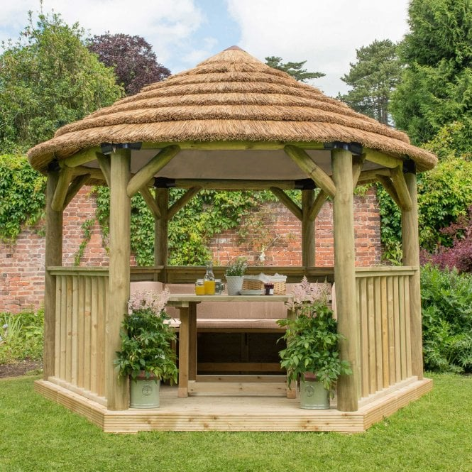 Click to view product details and reviews for 36m Hexagonal Gazebo With Thatched Roof.
