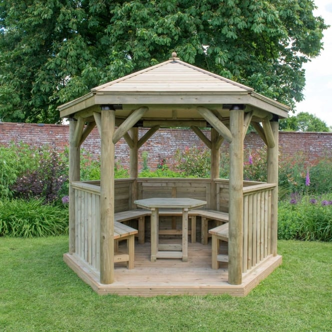 Click to view product details and reviews for 36m Hexagonal Gazebo With Traditional Timber Roof.