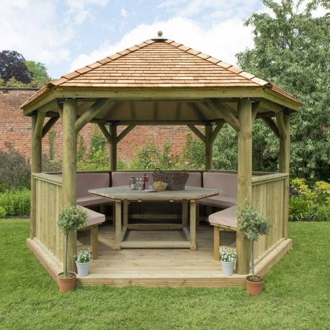 Click to view product details and reviews for 40m Hexagonal Gazebo With Cedar Roof.