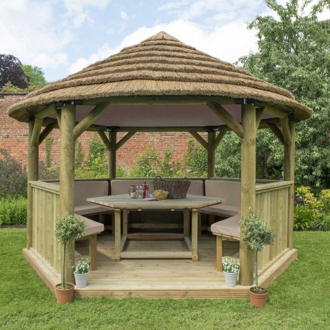 Click to view product details and reviews for 40m Hexagonal Gazebo With Thatched Roof.