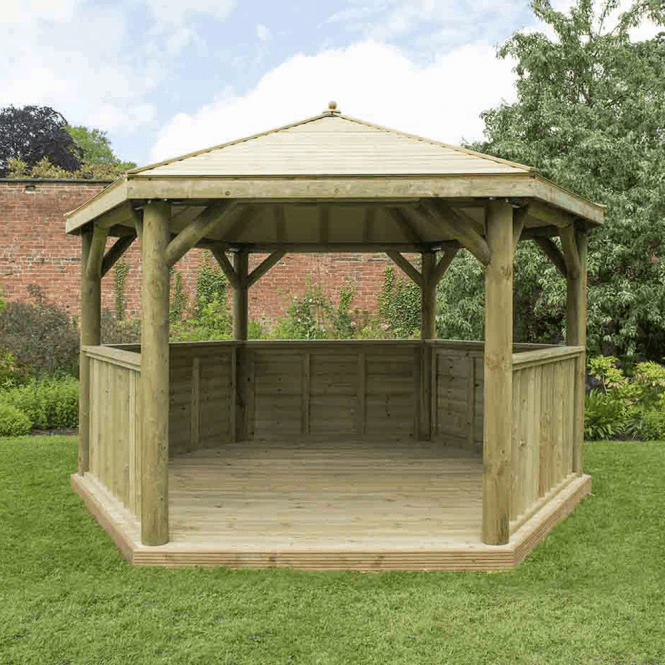 Click to view product details and reviews for 40m Hexagonal Gazebo With Timber Roof.