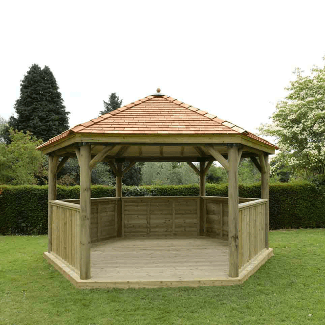 Click to view product details and reviews for 47m Hexagonal Gazebo With Cedar Roof.