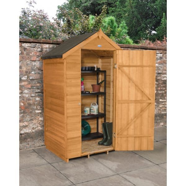 Forest garden 4 x 3 overlap dip treated apex shed for Garden shed 4 x 3