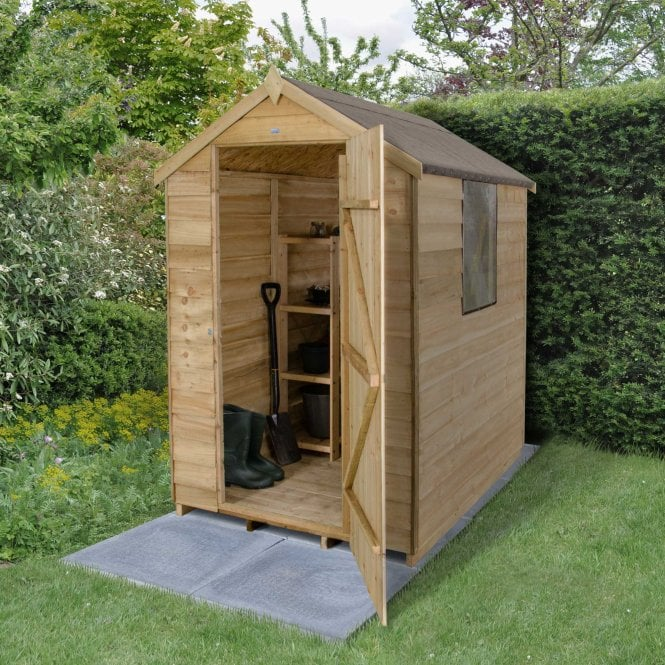Click to view product details and reviews for 4 X 6 Overlap Pressure Treated Apex Shed.