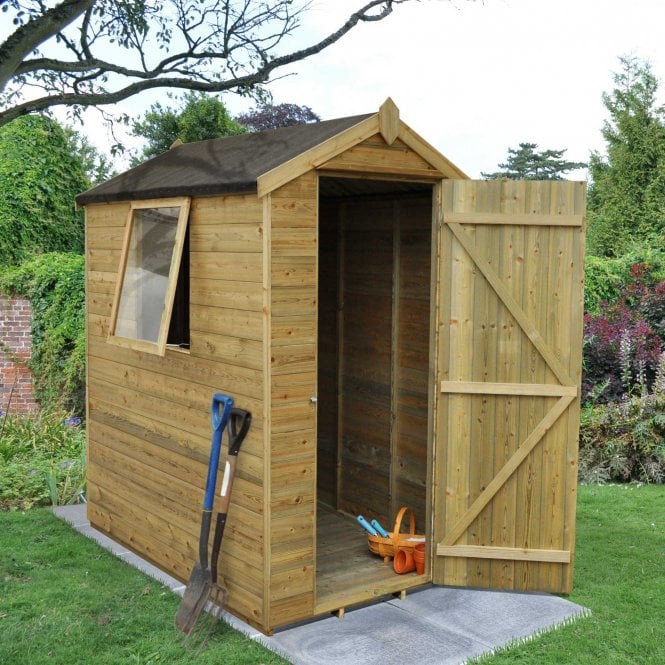 Click to view product details and reviews for 4 X 6 Premium Tongue And Groove Pressure Treated Apex Shed.