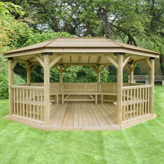 Click to view product details and reviews for 51m Premium Oval Gazebo With Timber Roof.