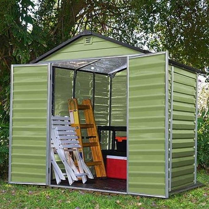 Click to view product details and reviews for 5 X 6 Green Apex Plastic Shed.