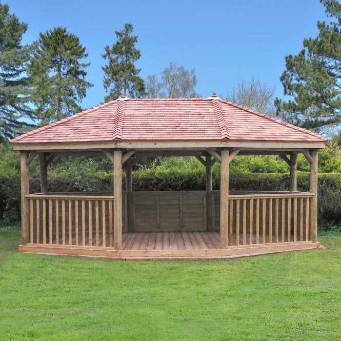 Click to view product details and reviews for 60m Premium Oval Gazebo With Cedar Roof.