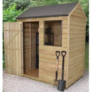 6 x 4 Overlap Pressure Treated Reverse Apex Shed