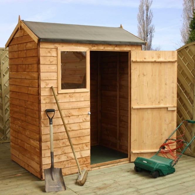 6x4 Overlap Reverse Apex Shed Single Door