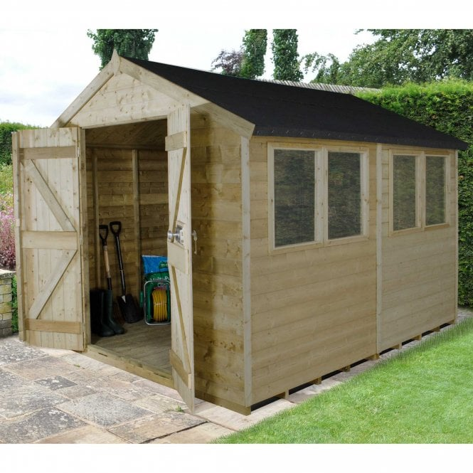 Click to view product details and reviews for 8 X 10 Premium Tongue And Groove Pressure Treated Apex Shed.