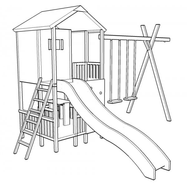 Action Gate Lodge Climbing Frame Playhouse Swings Slide Climbing Wall
