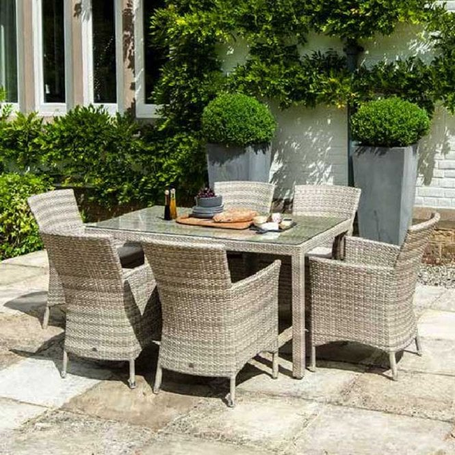 Click to view product details and reviews for Alexander Rose Ocean Pearl Fiji Wave Rectangular Dining Set.