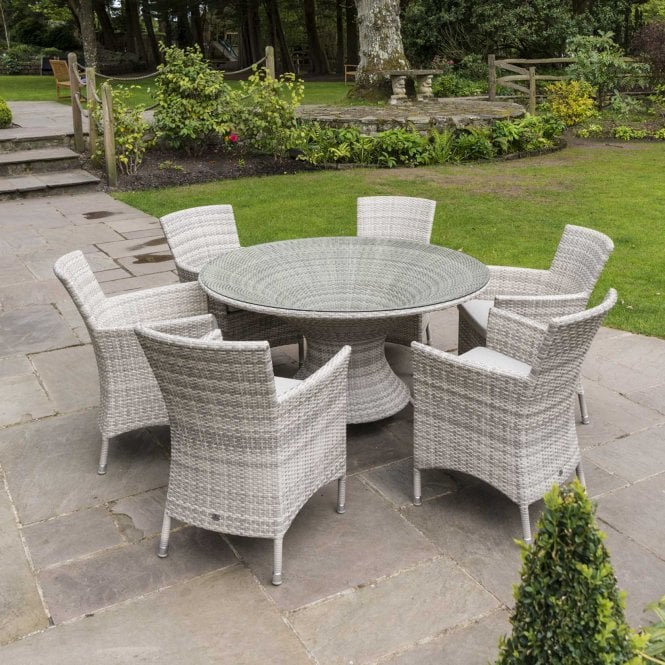 Click to view product details and reviews for Alexander Rose Ocean Pearl Wave Round Dining Set.