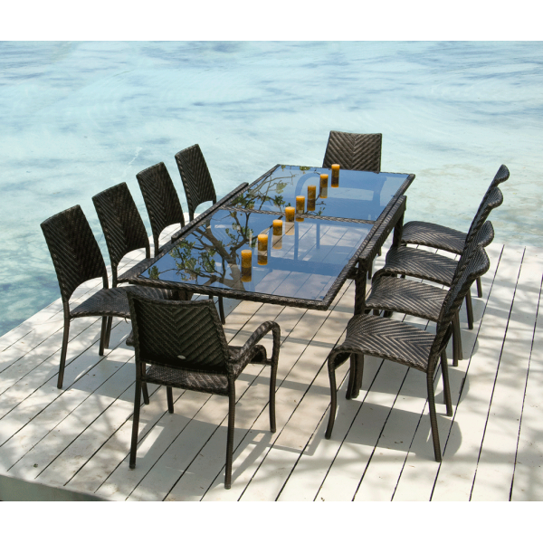 Ocean Rattan Fiji Extending Table With Stacking Chairs Outdoor Dining Set    10 Person
