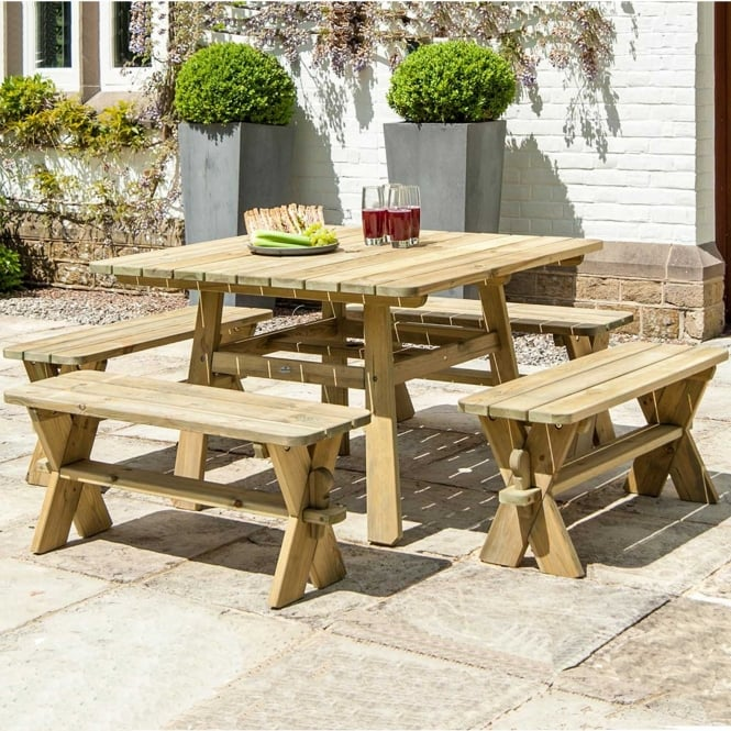 Click to view product details and reviews for Alexander Rose Pine Square Table And Benches Set.