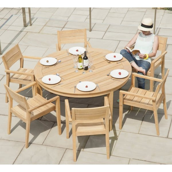 Alexander Rose Roble Round Table Outdoor Dining Furniture Set Person - Outdoor dining sets for 6 round table