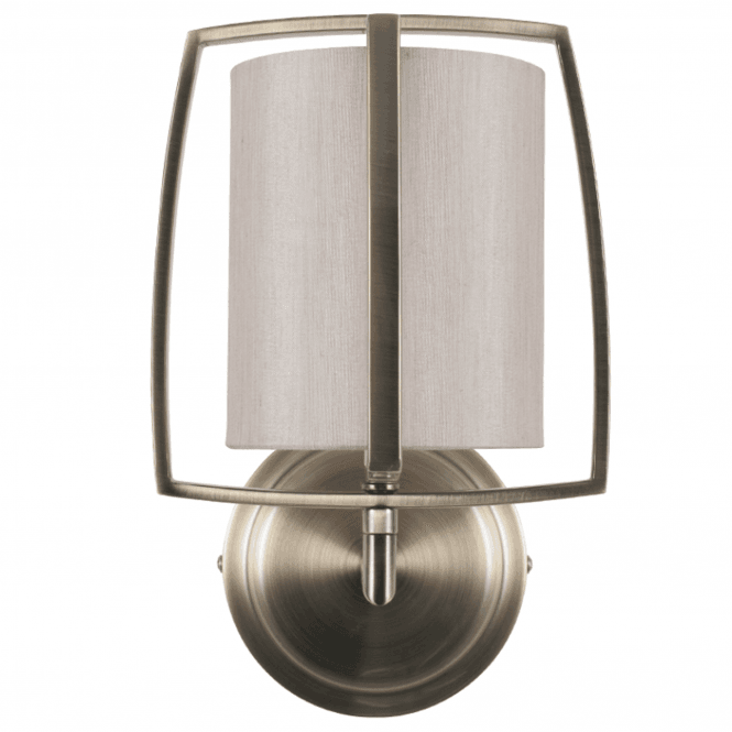 Click to view product details and reviews for Antique Brass Metal And Champagne Shade Wall Light.