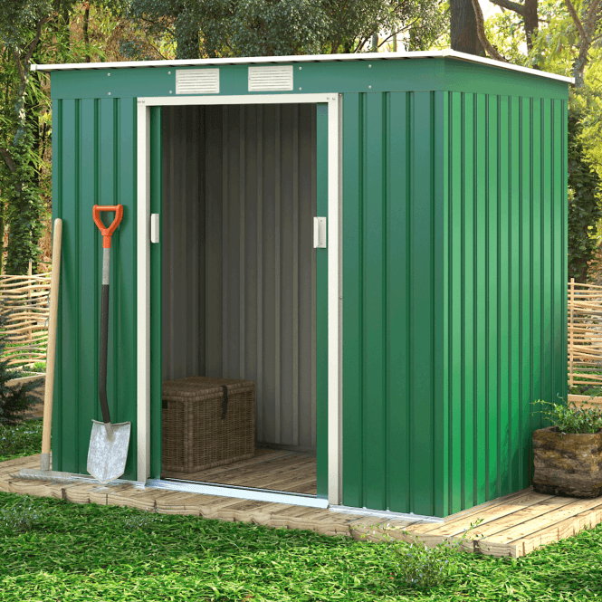 Click to view product details and reviews for Ascot 1 Green Metal Shed 7 X 4.