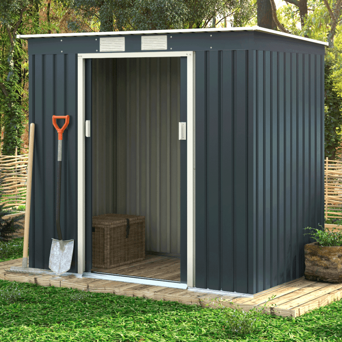 Click to view product details and reviews for Ascot 1 Grey Metal Shed 7 X 4.