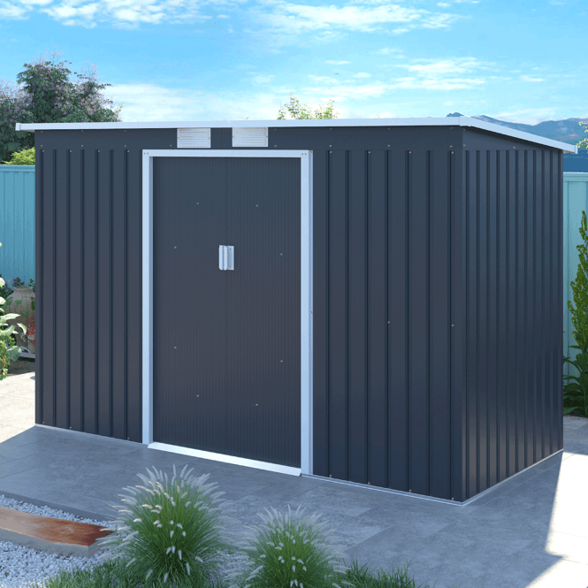 Click to view product details and reviews for Ascot 2 Grey Metal Shed 9 X 4.