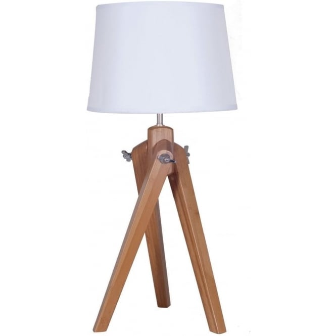 Click to view product details and reviews for Ayala Natural Wood Tripod Table Lamp Complete With Linen Shade 65cm.