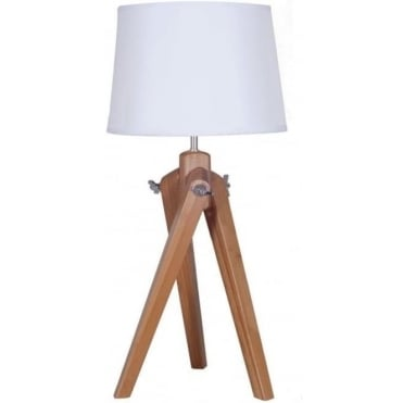 Ayala Natural Wood Tripod Table Lamp Complete With Linen Shade 65cm
