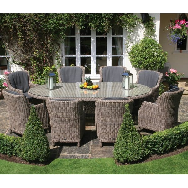Bali Oval Table Outdoor Dining Furniture Set With Armchairs 8 Person