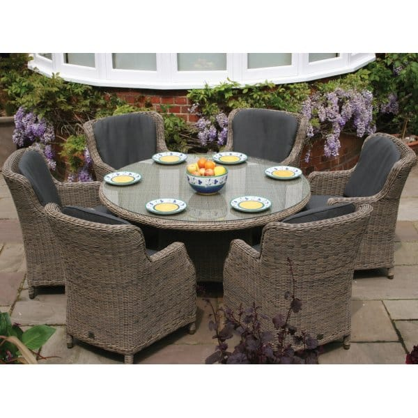 Bali Round Table Outdoor Dining Furniture Set (6 person)