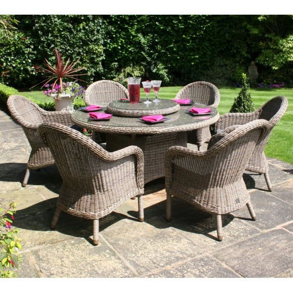 Bali Round Table Outdoor Dining Furniture Set & Lazy Susan ...