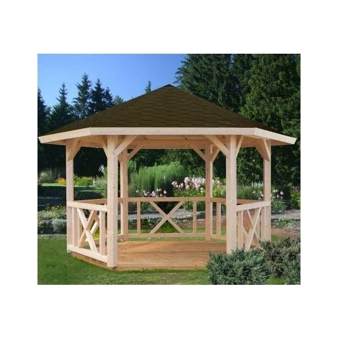 Click to view product details and reviews for Betty Hexagonal Gazebo With Tongue And Groove Roof.