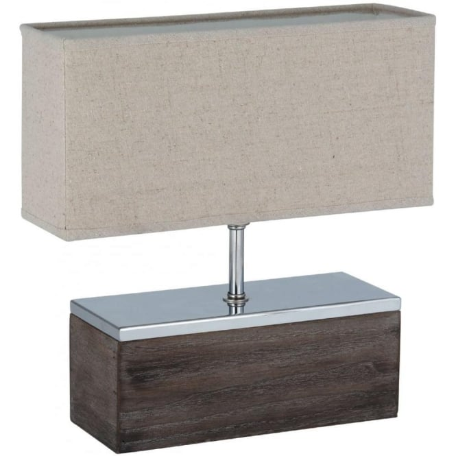 Click to view product details and reviews for Beverley Wood With Metal Complete Table Lamp 33cm.