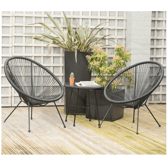 Click to view product details and reviews for Black Pu Rio 3 Piece Bistro Set.