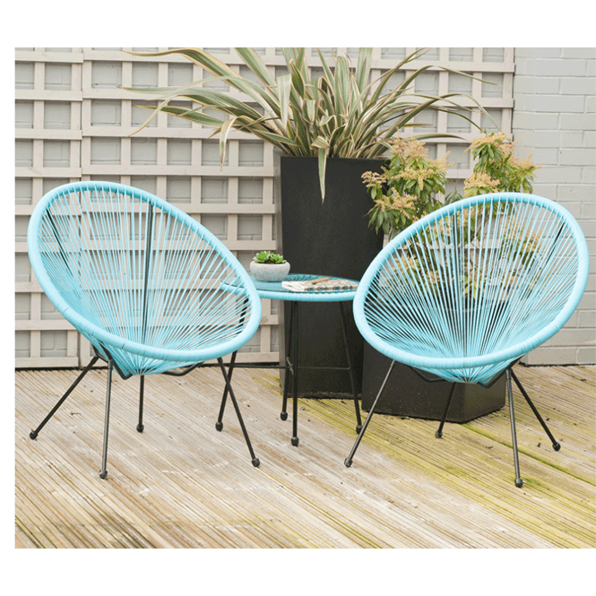 Click to view product details and reviews for Blue Pu Rio 3 Piece Bistro Set.