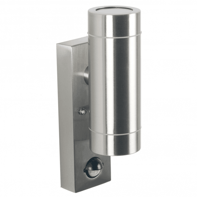 Brushed Steel Outdoor Sensor Dual Wall Light