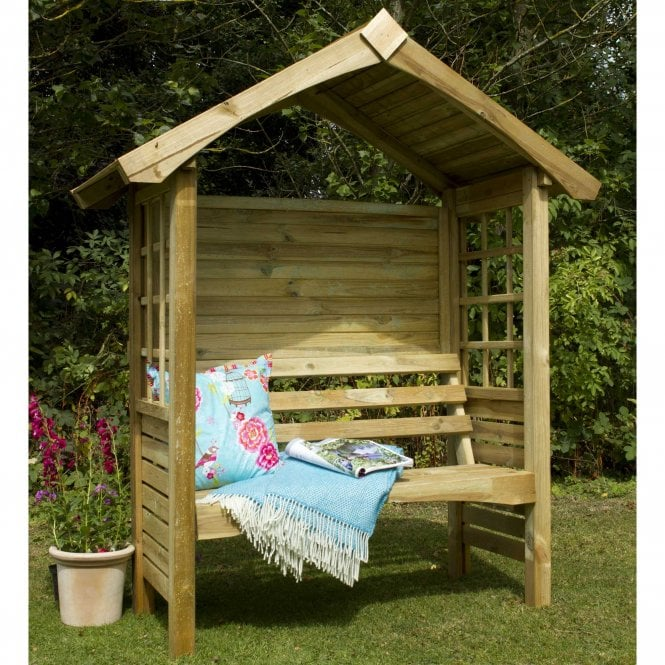 Click to view product details and reviews for Cadiz Arbour With Attractive Roof Trim And Side Trellis Panels.
