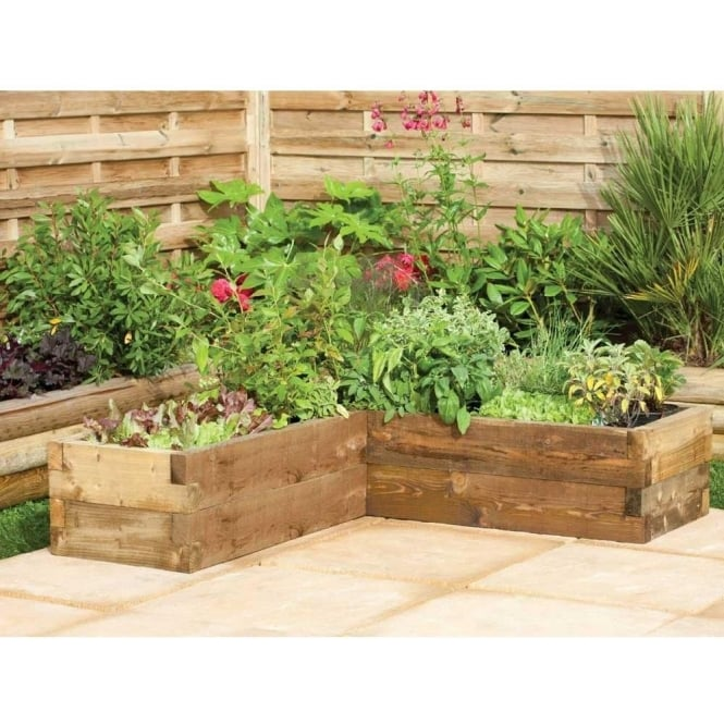 Corner Floral Garden Area: Forest Garden Caledonian Corner Raised Bed Planter FSC