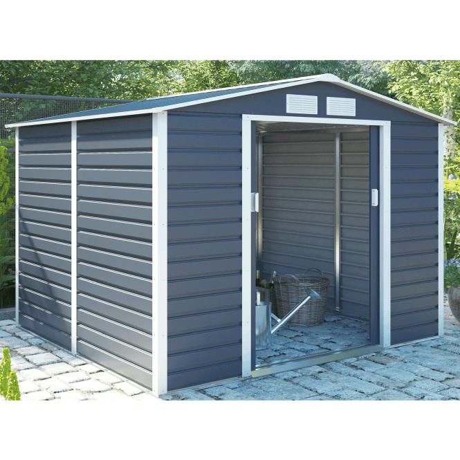 Click to view product details and reviews for Cambridge 2 Grey Metal Shed 9 X 6.