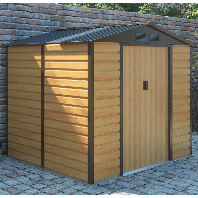 Click to view product details and reviews for Cambridge 2 Oak Metal Shed 9 X 6.