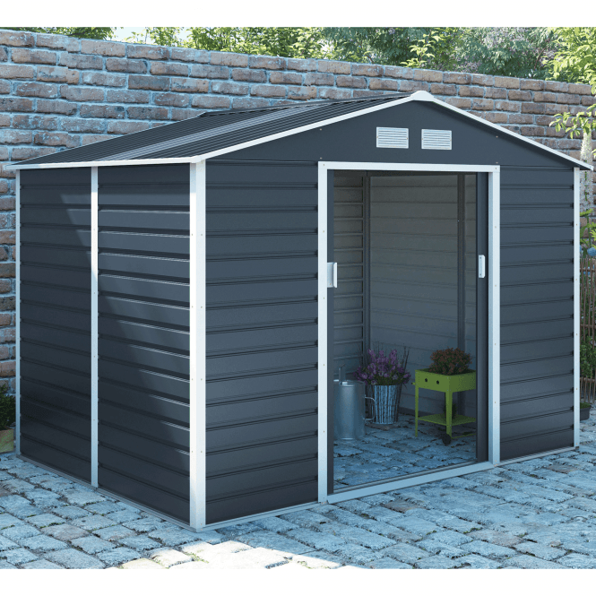 Click to view product details and reviews for Cambridge 3 Grey Metal Shed 9 X 10.
