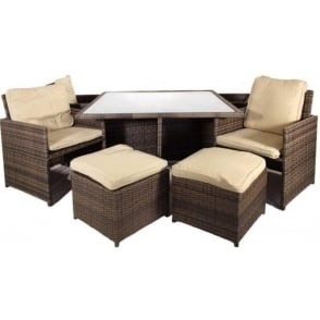 Canarias Cube Set 4/ 8 Seats MIXED BROWN