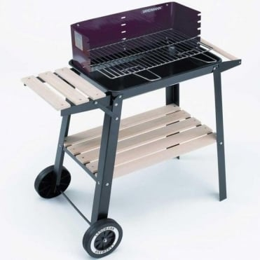Charcoal Wagon Barbecue with Wooden Side Table and Shelf