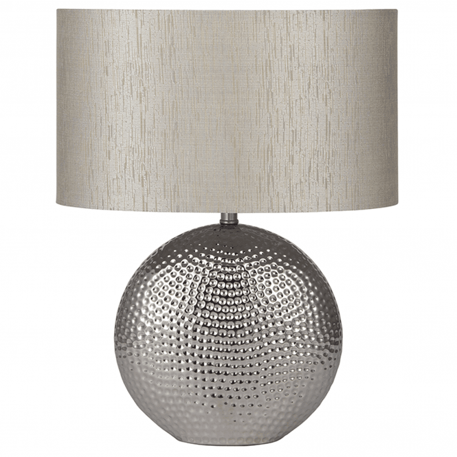 Click to view product details and reviews for Chrome Hammered Ceramic Table Lamp.
