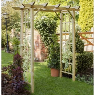 Classic Garden Arch With Trellis Side Panels